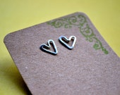 small heart stud, sterling silver hammered funky post earrings