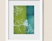 Blue and Lime Green Bird Home Wall Art Print 5 x 7 Living Room Wall Decor (72)