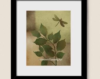 Rustic Home Decor Dragonfly Wall Art 8 x 10 Print, Earthy Brown Tree Branch, Earthtones Green Nature Art Print (211)