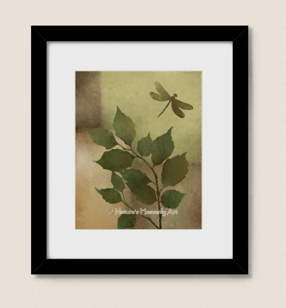 Rustic Home Decor Dragonfly Wall Art 8 X 10 Print Earthy