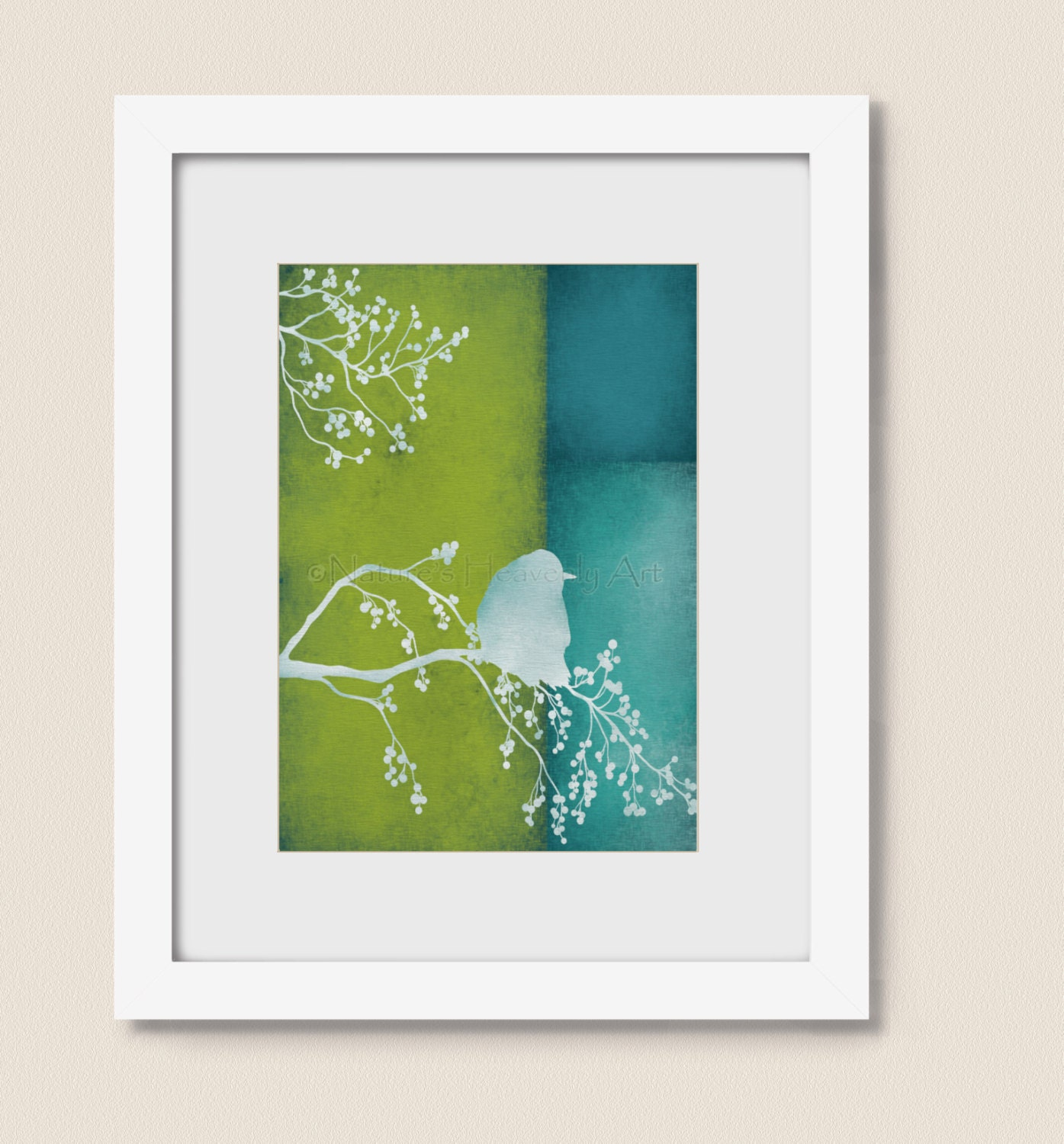 Blue and lime green bird home wall art print 5 x 7 living room - Wall decor for green walls ...
