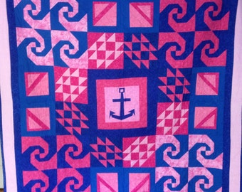 Pink and Blue Lap Quilt with Anchor Centerpiece