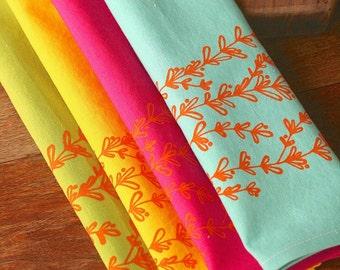 Cloth Napkins, Hand Printed Lavender, Vibrant Multi Color, Set of 4