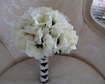 Cream rose, anemones and hydrangea silk and real touch wedding bouquet in cream and black bridal bouquet