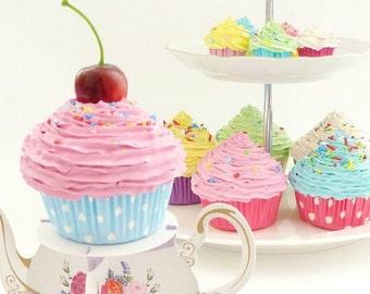 FAKE CUPCAKE great for bridal shower decoration  wedding cake stand ,cupcake stand ,wedding cupcake stand,for wedding decoration ,PINK icing