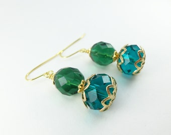 Stacked Beaded Emerald Green and Teal Gold Earrings Dangle Yellow Gold
