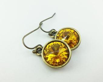 Sunflower Brass Drop Earrings Yellow Crystal Drop Earrings