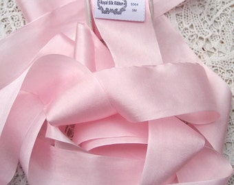 Pure Silk Ribbon Pale/Pink  Color 1 1/2 inch  36mm wide 5 yards LIMITED