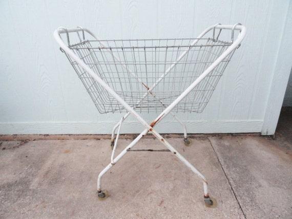 Vintage Laundry Basket Cart Rolling Metal Folding Detachable