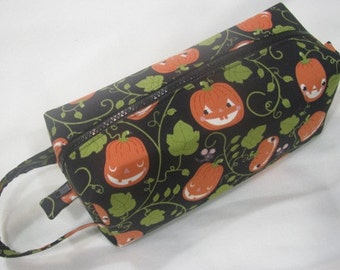 Grinning Retro Pumpkins with Surprise embroidery inside - Pencil Bag Craft Bag Cosmetic Bag Makeup Bag Shaving Kit LARGE