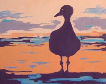 Wall Art, Abstract Painting, Beach Decor, Ready to Hang Art, Seagull Art, Beach Art, Bird Art 'Bird of a Different Color' by AndolsekArt