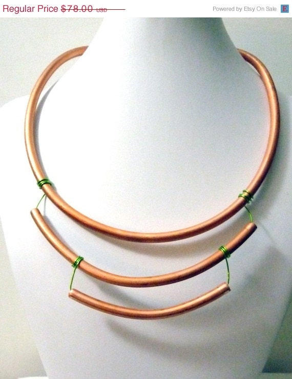 Copper Tiered Statement Necklace neon green