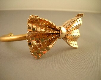 Gold bow cuff bracelet-adjustable