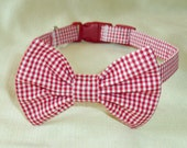Red and White Gingham Check Bowtie Collar for Medium and Larger Dogs