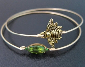Honey Bee Bracelet Set, Honey Bee Jewelry, Queen Bee Jewelry, Gold Stack Bracelets, Green Jewelry, Stacked Braclet Set, Honeybee Jewelry