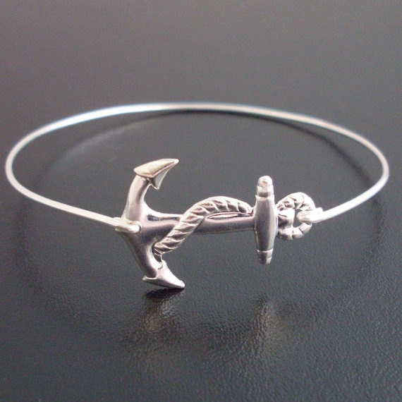 Nautical Anchor Bracelet, Silver Anchor Bangle Bracelet, Anchor, Charm Bracelet, Nautical Bracelet, Nautical Jewelry, Naval, Anchor Jewelry