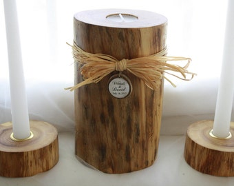 Rustic Wood Wedding Unity Candle-Personalized