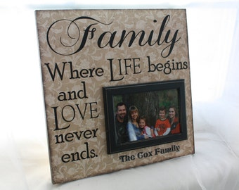 "Personalized Family Picture Frame 12""X12"" -Wall Mounted-holds 4x6 photo"