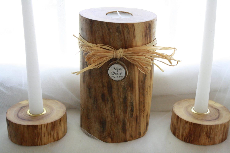 Wedding Candles: Rustic Wood Wedding Unity Candle-Personalized