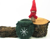 Red and Green Christmas Gnome Toy, Waldorf Wood Peg Doll, Felted Wool Ornament