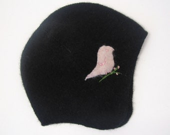 Pink and Black Super Soft Cashmere Hat- Pink Bird- Size 6 to 12 months