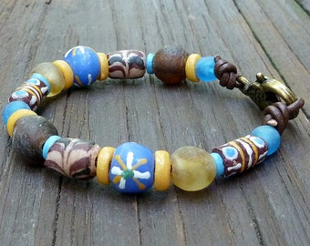 Brown Recycled Glass Bracelet - Blue Recycled Glass Krobo Beads, Brown Recycled Glass Beads, Brown Leather Bracelet