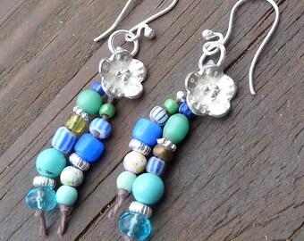 Silver Flower Dangle Earrings - Blue Glass Beads, Silver Flower Charm, Brown Hemp Earrings