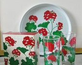 Vintage Geraniums Tall Drinking Glasses Set of Two Original Box 1983 Avon Summer Fantasy Red and Green 2 more Boxed Sets Available - maggiemaevintage