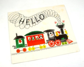 Vintage Christmas Card, Hallmark, Merry Christmas, Happy New Year, Train, Old Holiday Card  (608-13)