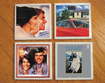 The Carpenters Rock and Roll Record Cover Art Tile Drink Coasters 4 Piece Set