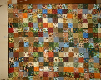 Twin size Quilt Up north squares hunting and fishing 3