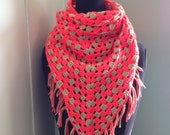 neon orange and tan crocheted triangle scarf