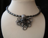 Octopus Hand Beaded Memory Wire Choker