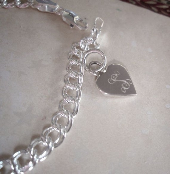 personalized sterling silver charm bracelet engraved silver