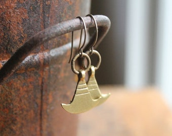 Mombasa Antique Brass Conch Earrings on Artisanal Brass Ear Wire - Tribal African Ethnic Chic - Traditional Tuareg