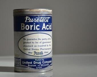 Vintage Puretest Boric Acid. United Drug Company of Boston and St. Louis.