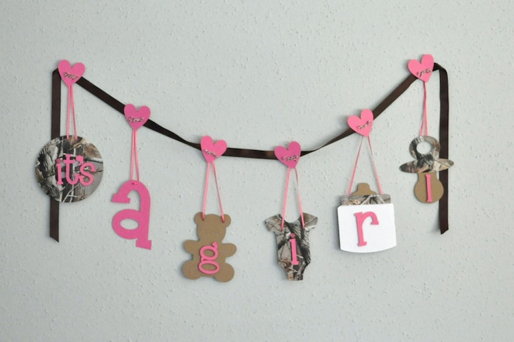 Realtree camo baby shower decorations pink it 39 s a by for Pink camo decorations