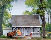 RESERVE FOR JANIEZORRO Summer Cottage framed diorama