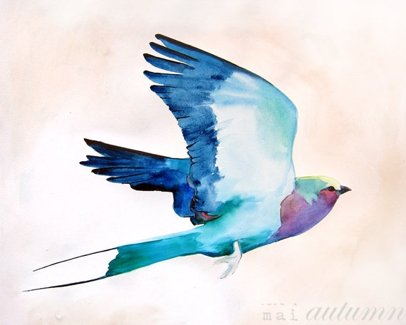 Items similar to Watercolor Bird - Lilac Roller Painting ...