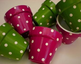 Small Flower Pots - Polka Dots - Party Favors - Wedding Favors - Shower Favors - Tea Favors