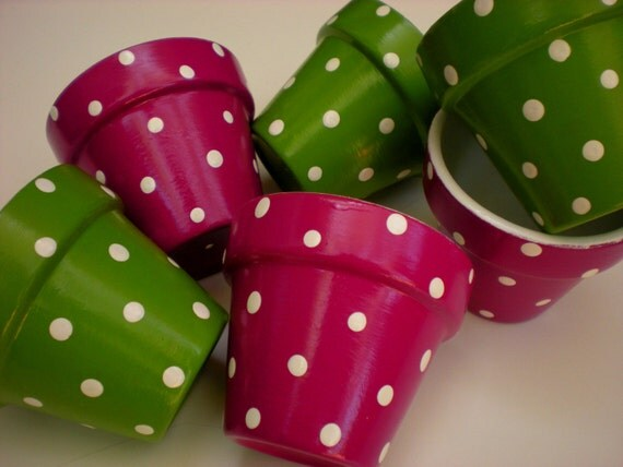 Small Flower Pots - Polka Dots - Party Favors - Wedding Favors - Shower Favors - Tea Favors