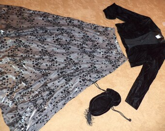Victorian Edwardian Titanic outfit black skirt jacket hat COSTUME womens 6/7