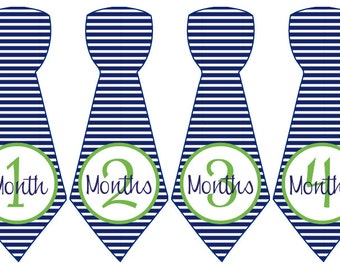 Baby Month Stickers Baby Boy Monthly Stickers Blue Green Striped Tie First Year Month Stickers Baby Shower Gift Photo Prop Tag-T