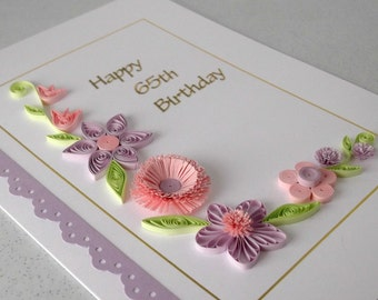 Quilled 65th birthday card, paper quilling, handmade
