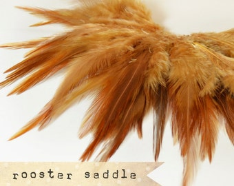 50 pcs+ - CARAMEL - Rooster Saddle feathers - 2 inch strip - two-tone, pointy tip, shiny feathers, exotic feathers (RS006)