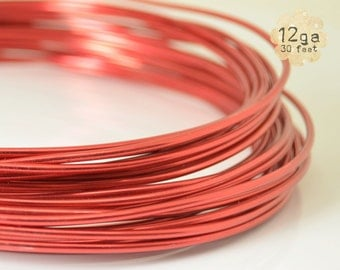 30ft 12ga Aluminum Craft Wire - 12 gauge, 9.2m, wire wrapping, jewelry, crafts, floral designs - RED