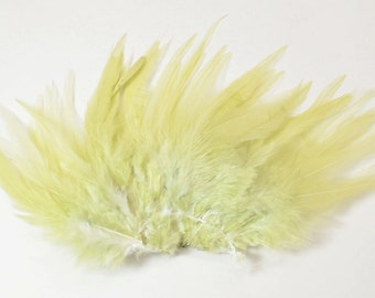 Rooster Saddle Feathers - Lemongrass, 2 inch strip (50-60pcs)