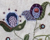 Jacobean Flower Wool Applique,  Hand Embroidery / Pattern / Jac 004