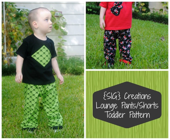 INSTANT Download Original SIG Lounge Pants and Shorts Sewing Pattern - 12 month to 5T