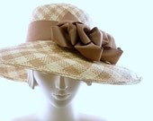 Plaid WIDE BRIM Hat for Women - Panama Hat - Straw Hat - Kentucky Derby Hat